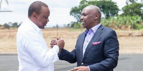 A photo of President Uhuru Kenyatta when he condoled with Baringo Senator Gideon Moi at Kabarak following the death of Jonathan Moi, in April 2019.