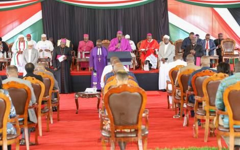 Various religious leaders pictured during the National Prayer Service held at State House Nairobi on March 21, 2020.