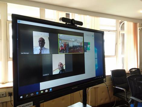 Videoconferencing equipment donated by Huawei to Kenya's Ministry of Transport on March 20, 2020.