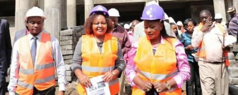 Kirinyaga Governor Anne Waiguru centre with Chief Administrative Secretary in the Ministry of Transport and Public Works, Wavinya_Ndeti (right) inspect the construction of a building in Kirinyaga on March 11, 2020