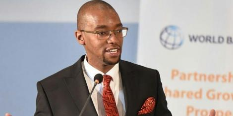 Citizen TV news anchor Waihiga Mwaura moderating a World Bank forum in 2019