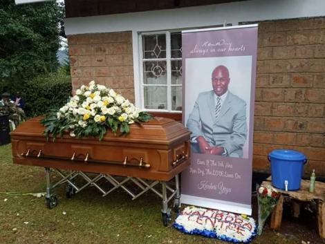 Ken Walibora's coffin during his burial service on Wednesday, April 22, 2020 at his Huruma village, Cherangany Constituency in Trans-Nzoia County