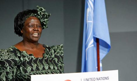 Wangari Mathai speaking at the UN, New York. September 26, 2011.
