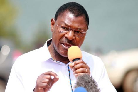 Bungoma Senator Moses Wetangula addresses a gathering in Busia in 2018