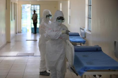 Medical practitioners in protective gear at the Coronavirus Isolation facility in Mbagathi District Hospital on Friday, March 6, 2020.