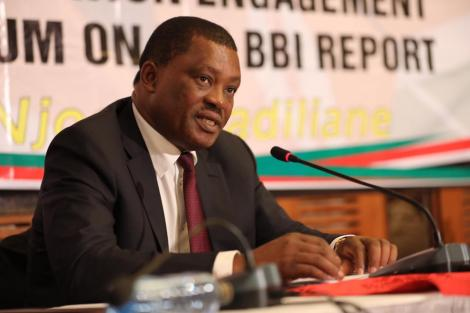 National Assembly Speaker Justin Muturi makes recommendations before the Building Bridges Initiatives (BBI) Taskforce led by Garissa Senator Yusuf Haji on Tuesday, March 10, 2020.