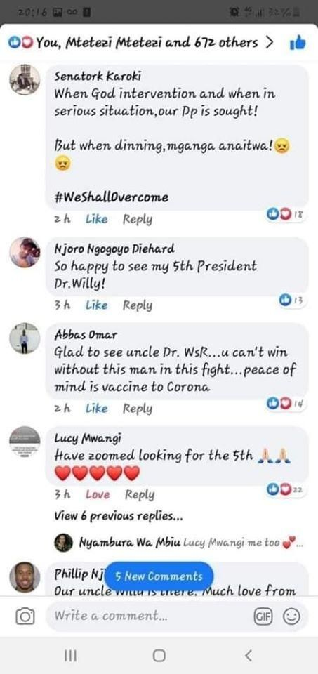 A screenshot of comments by Kenyans excited Deputy President William Ruto was present in a Cabinet Meeting at State House on Thursday, March 19, 2020.