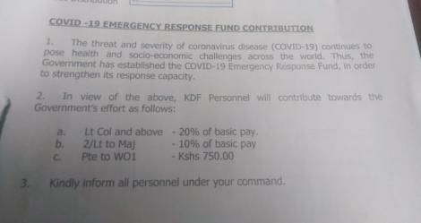 The memo from the Kenya Defence Forces (KDF) detailing the pay cuts.