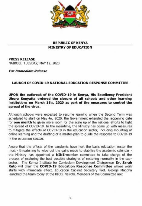 A statement issued by Ministry of Education on Tuesday, May 12, 2020.