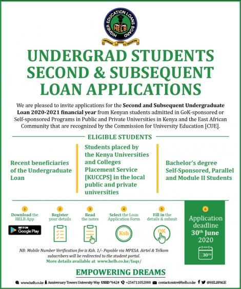 An announcement by HELB on the second and subsequent Undergraduate Loan application for the 2020-2021 financial year.