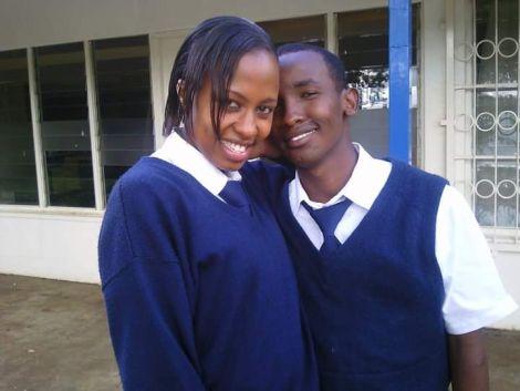 Mohamed Mahmud (right) with Brenda Mwai Gakuya AKA Julia during the shooting of Tahidi High in 2009.