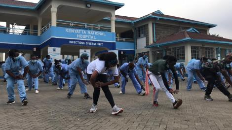 Frontline workers exercising at Mbagathi Isolation facility on May 28, 2020.