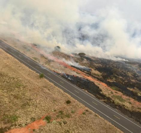An ariel view of the fire incident at Tsavo Conservation area
