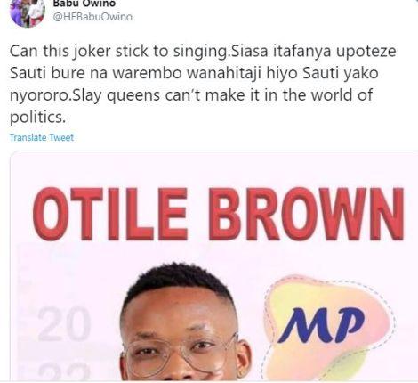 A screenshot of Babu Owino's post