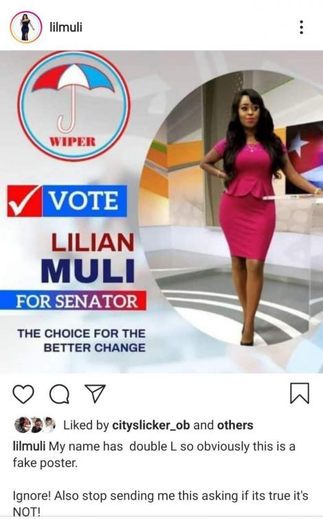 A fake poster of Lillian Muli that circulated online on December 29, 2020.