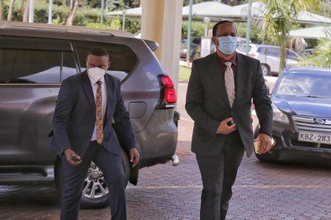 Interior PS Karanja Kibicho arrives at DCI Headquarters on January 25, 2021.