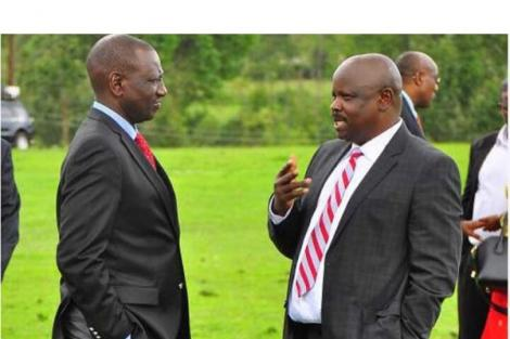 Deputy President William Ruto (left) speaks to former Bomet Governor Isaac Ruto at a past function.