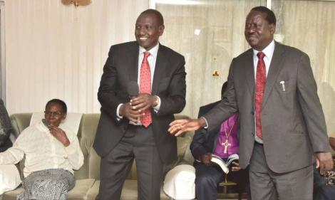 Deputy President William Ruto (left) and former Prime Minister Raila Odinga at the late Kenneth Matiba's home in Limuru in April 2018.