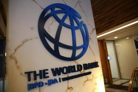Logo at the entrance to the World Bank building in Washington DC, USA.