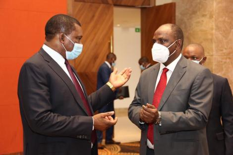 National Assembly Speaker Justin Muturi with Treasury CS Ukur Yattani at Ole Sereni on Wednesday, August 26, 2020