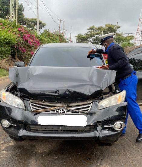 Damaged car belonging to Ebru TV show host Joan Obwaka on Monday Morning, November 16, 2020.