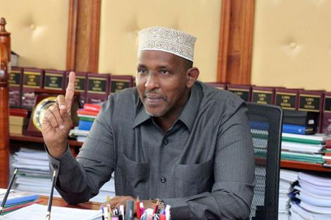 A photo of National Assembly Majority Leader Aden Duale addressing reporters in Nairobi on May 22, 2019.