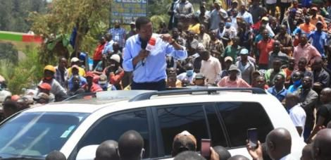 Machakos Governor Alfred Mutua addressing a rally at Chuka town on Friday, October 9, 2020.