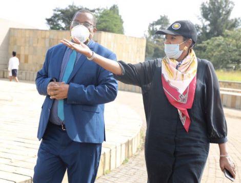 Sports CS Amina Mohamed (right) and National Museums of Kenya (NMK) Director-General Mzalendo Kibunja touring Uhuru Gardens on June 12, 2020.