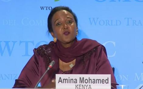 Sports CS Amina Mohamed speaking at WTO headquarters at Geneva, Switzerland on July 16, 2020