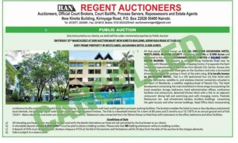 The notice cancelling the planned auction of Jacaranda Hotel in Nairobi.