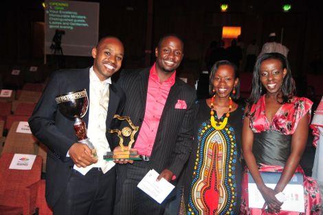 Boniface Mwangi (left) and Allan Namu (center).