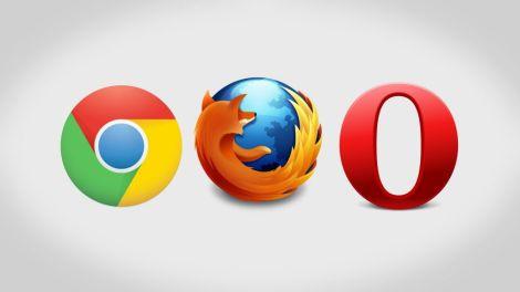 Web browsers Chrome, Mozilla Firefox and Opera Mini