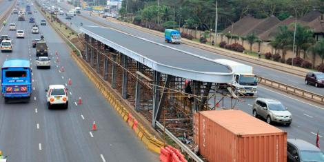 A Bus Rapid Transport (BRT) station under construction along Thika Road at Safari Park footbridge