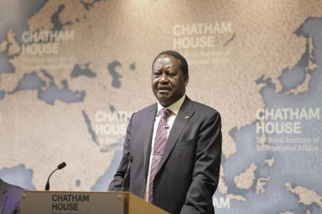 ODM leaderRaila Odinga delivering his speech at Chatham House, London in 2016.