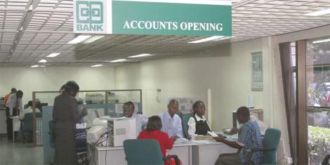 Clients inside a Cooperative bank branch.