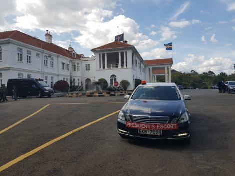 Presidential Escort Unit vehicle parked at State House