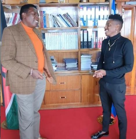 Comedian Eric Omondi with Devolution CS Eugene Wamalwa at his office in Nairobi on March 30, 2021