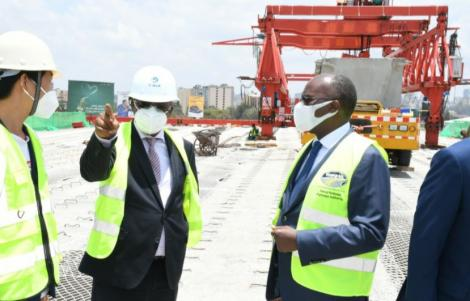Transport CS James Macharia during an inspection visit of the Nairobi highway on March 31, 2021.