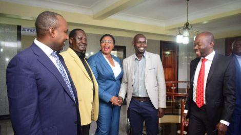 From Left; Suna East MP Junet Mohammed, ODM Leader Raila Odinga, Malindi MP Aisha Jumwa, Kibra MP Imran Okoth, and Saboti MP Caleb Amisi at Jumwa's office in Parliament buildings on Tuesday, October 1, 2019.
