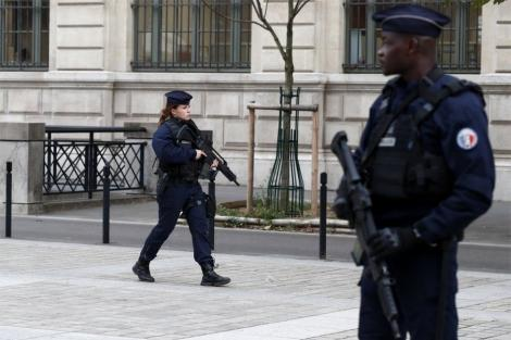 File image of French Police officers on patrol in Paris.