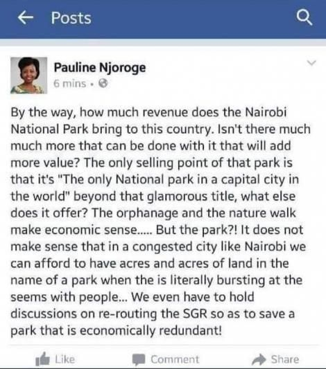 A screenshot of a past post by ​newly-appointed Tourism Regulatory Authority Board Member Pauline Njoroge
