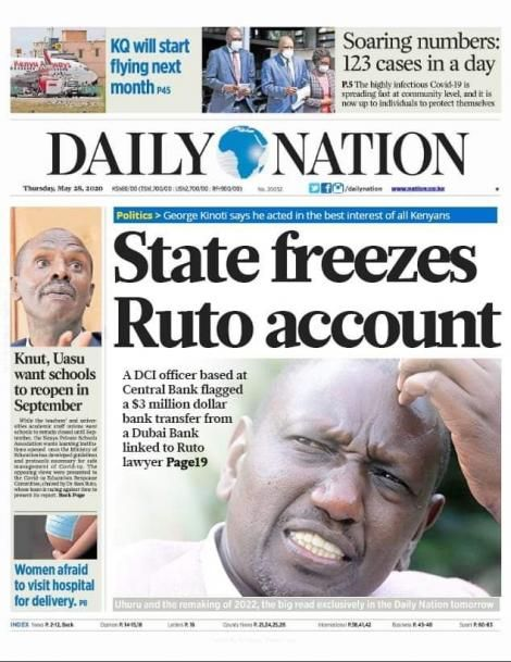Fake Daily Nation cover shared on social media on Thursday, May 28, 2020