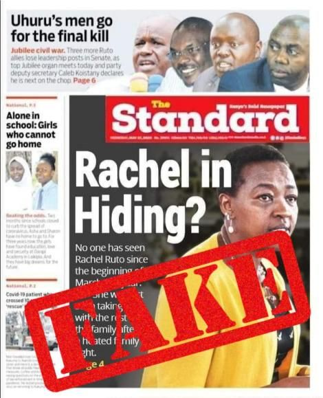 The Standard newspaper on May 27, 2020, clarified that the story about Rachel Ruto fleeing from Deputy President William Ruto's Karen home was false