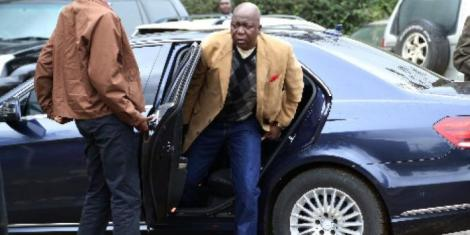 The late Jakoyo Midiwo steps out of a car in Kisumu on February 3, 2020
