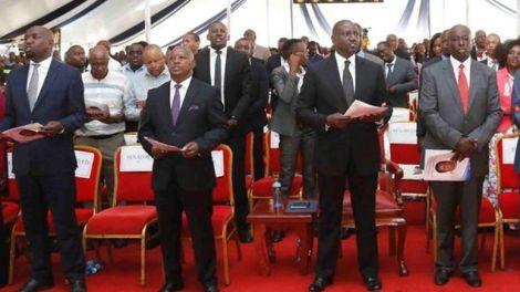 From left: Elgeyo Marakwet Senator Kipchumba Murkomen, Nyeri Governor Mutahi Kahiga, DP William Ruto and Mathira MP Rigathi Gachagua during the burial of the MP's mother in January 2020.