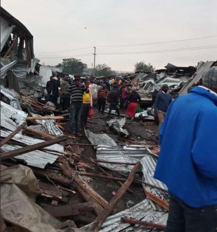 Police at the scene of the demolitions at Gikomba market in Nairobi on July 14, 2020.