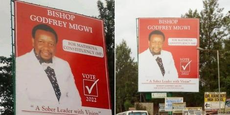 Bishop Godfrey Migwi's campaign billboards in Mathioya,Murang'a county
