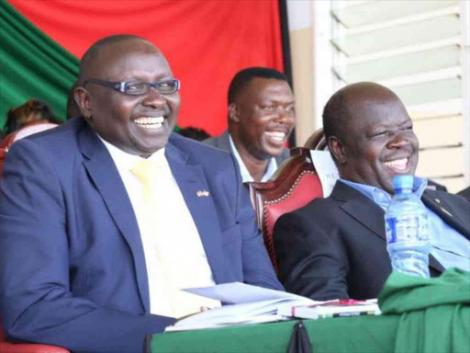 Trans Nzoia Governor Patrick Khaemba (R) with his Deputy Stanley Tarus at a function in Kitale town.