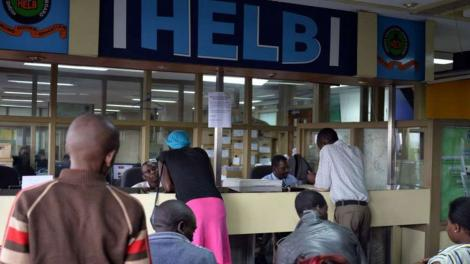 Kenyans waiting for service at Helb offices