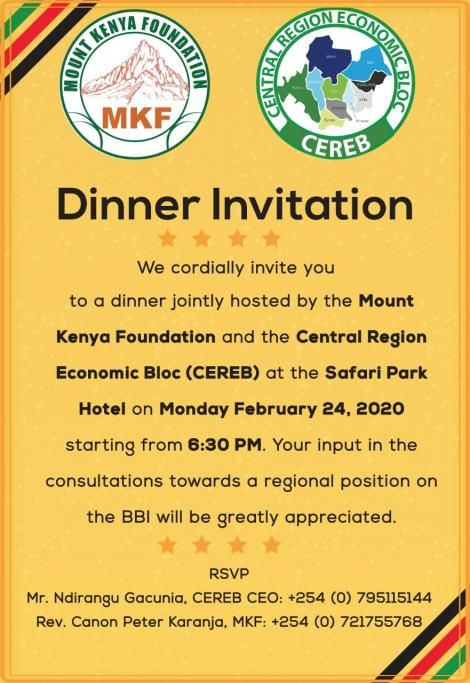 The invitation card by the MKF and the CEREB calling for a dinner meeting on February 24, 2020